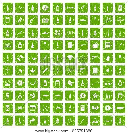 100 smuggling goods icons set in grunge style green color isolated on white background vector illustration