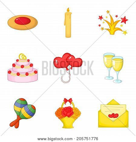 Solemn event icons set. Cartoon set of 9 solemn event vector icons for web isolated on white background