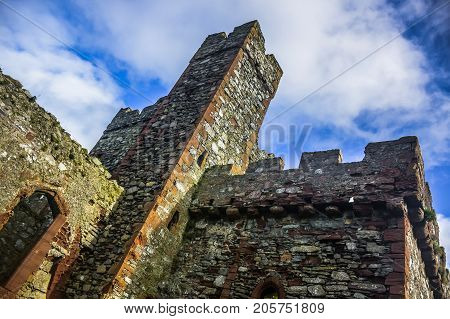 Remains of St. Patrick's Church inside Peel Castle constructed by Vikings in Peel city in the Isle of Man