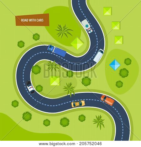 Road with cars. Moving cars on road, top view. Concept of highway traffic, urban transport, landscape. Path and travel, car journey, traffic map of city asphalt street. Vector illustration.