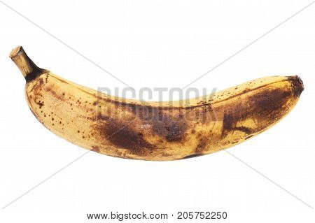 old banana on white background . photo in the studio