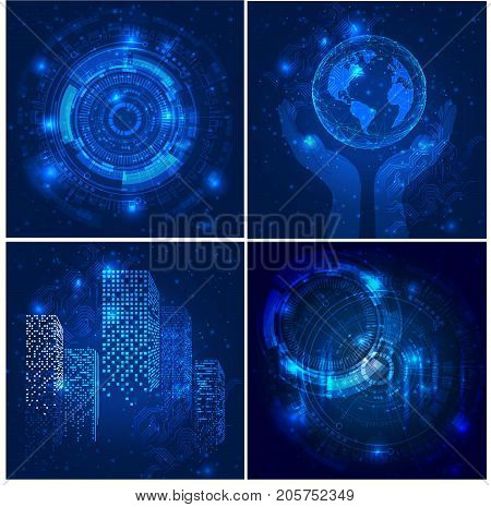 Vector Abstract futuristic posters, Illustration high computer technology dark blue color background. Hi-tech digital technology concept