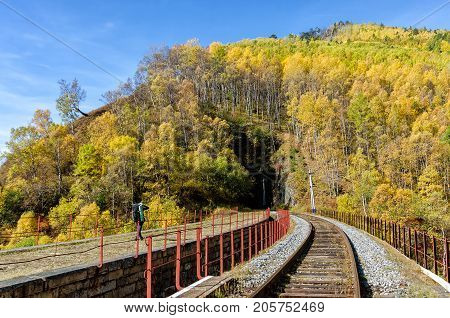 Autumn Circum-Baikal Railway l with backpacker on south lake Baikal. Russia