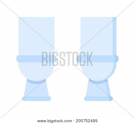 Light toilet room. Home furniture, white ceramics realistic lavatory, accessories. Vector illustration isolated flat cartoon, front and side view