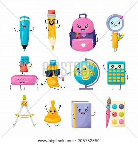 Set of school funny office supplies characters. Merry education set: marker, pencil, backpack, magnifier, erasers, tube with glue, globe, calculator, compasses bell book paint Vector illustration
