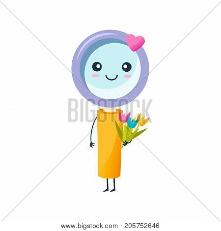 Concept of school funny office supplies. Happy pencil with face. Cartoon happy school character funny cute loupe, with flowers in hands, stands smiling. Modern education. Vector illustration.