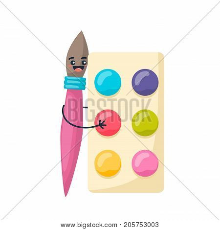 Concept of school funny office supplies. Happy brush with face. Cartoon happy school character brush, smiling, holding watercolor hands with multi-colored paints. Modern education. Illustration.