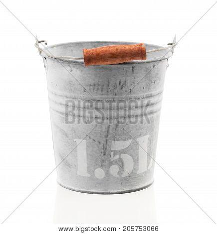empty aluminum bucket isolated on white background