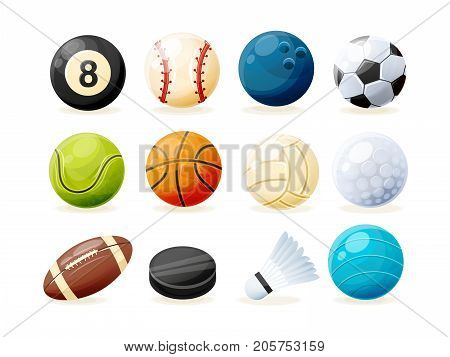 Set of modern sports equipment: ball for billiards, golf and bowling, balls for baseball, football, tennis, basketball, volleyball, rugby, water polo, washer and shuttlecock Vector illustration