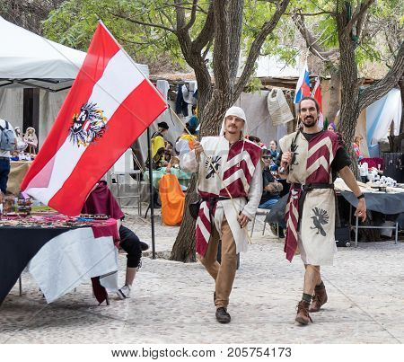 Jerusalem Israel September 23 2017 : Austrian knights - participants of the festival