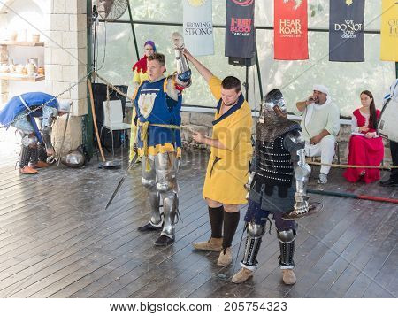 Jerusalem Israel September 23 2017 : The judge announces the winner of the fight at the festival