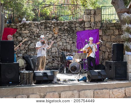 Jerusalem Israel September 23 2017 : The musical group plays at the festival
