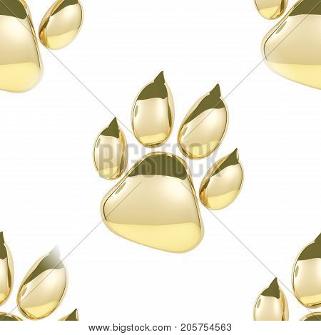 Seamless Texture pattern of Golden paw print icon isolated on white background. Dog paw footprint 3D rendering