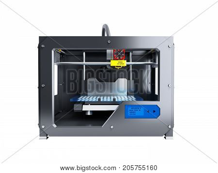 Creative Abstract New Technologies Concept Modern Professional Plastic 3D Printer 3D Render On White