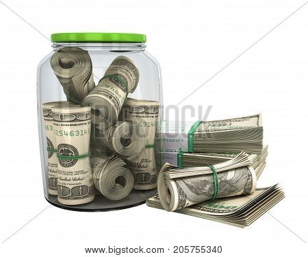 Safe Concept Many 100 Us Dollars Bank Notes In A Glass Jar 3D Render On White No Shadow