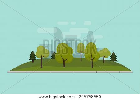 City park, lawn and trees. Vector illustration of an isolated flat style. Green park area in the city center. Against the background of the city with skyscrapers and large buildings.
