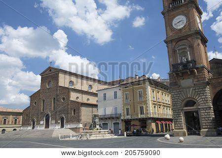 Faenza (Forli Cesena Emilia Romagna Italy): exterior of historic buildings: cathedral facade and fountain