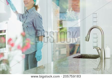 Woman Doing House Cleaning Duties
