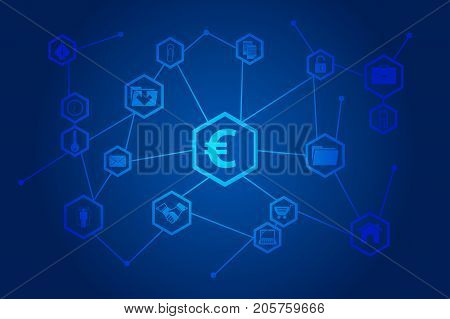 Vector illustration of the global business network block chain.