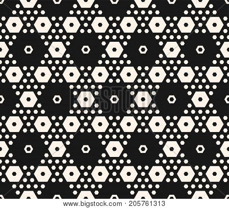 Simple geometric texture with big and small hexagons in hexagonal grid. Abstract modern seamless pattern. Monochrome repeat background. Stylish dark design for home, decor, fabric, furniture, covers.