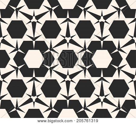 Vector seamless pattern. Monochrome geometric ornament texture with triangular shapes, hexagons. Abstract repeat background. Black & white design for tileable print, embossing, decor, covers, textile.