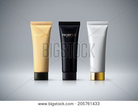 Cream packaging design. Fashion makeup advertising poster. Cream tubes isolated on white background. Skincare cosmetic products. 3d realistic vector illustration. Cosmetics mockup