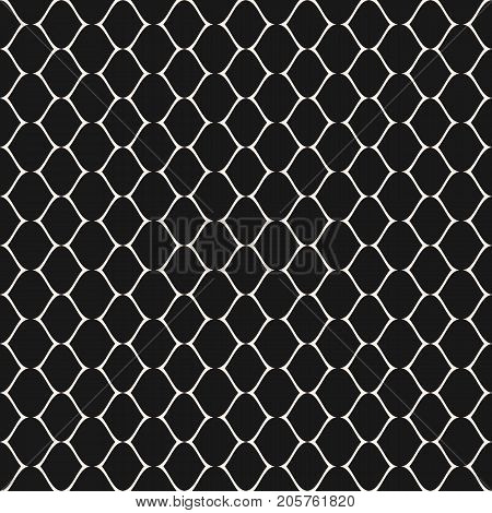 Subtle mesh texture. Vector seamless pattern. Simple illustration of delicate lattice, lace, fishnet. Abstract geometric monochrome repeat background. Elegant dark design for prints, decor, digital. Mesh background. Geometric pattern.