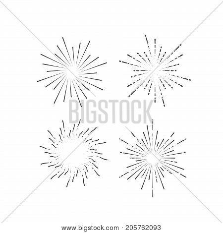 Outline firework explosion shapes isolated on white. Starburst or sunburst collection. Vintage burst light rays. Vector graphic sketch illustration. Set of labels. Logo design elements