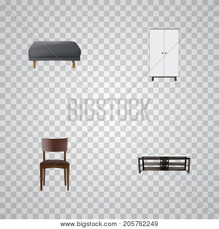 Realistic Footstool, Furniture, Seating And Other Vector Elements