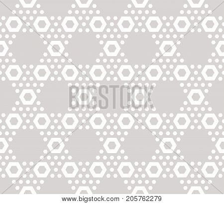 Hexagon texture vector seamless pattern in soft pastel colors beige & white. Perforated surface hexagonal grid. Abstract repeat background. Design element for decoration, prints, paper, covers.
