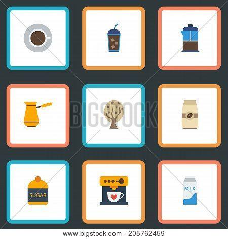 Flat Icons Ibrik, Sweetener, Coffeemaker And Other Vector Elements