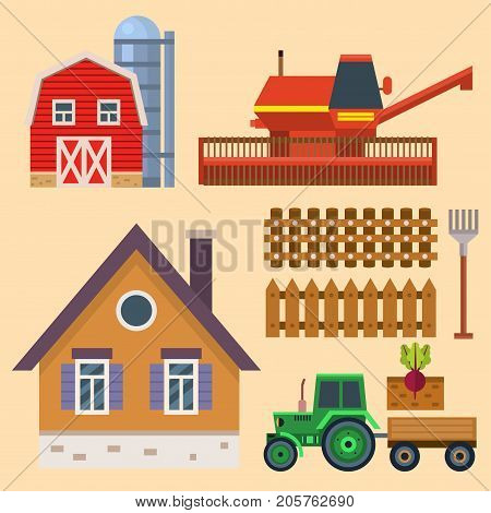 Vector set of flat farm icons harvesting equipment for agriculture and horticulture healthy harvester natural fruits and hand tools. Fresh vegetables farmer gardening village