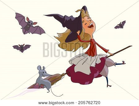 Cheerful young witch flying on a broom with a fun mouse accompanied by bats. Items from the collection of Halloween. Vektor illustration isolated on white