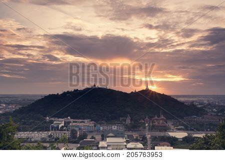 Phetchaburi Thailand - August 27 2013 : Beautiful mountain (Phra Nakhon Khihri Historical Park) with sunset.