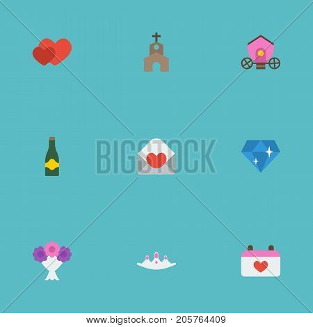 Flat Icons Card, Brilliant, Accessories And Other Vector Elements