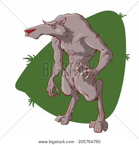 Colorful vector illustration of a cartoon werewolf character