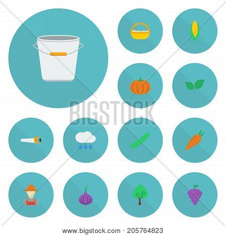 Flat Icons Grower, Veggie, Timber And Other Vector Elements