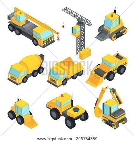 Different technic for construction. Isometric cars construction machinery, vector industrial equipment transportation illustration