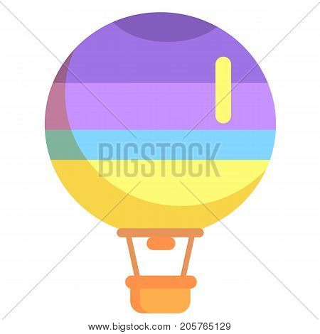 Hot air balloon with basket and color stripes isolated on white background. Vector illustration of transportation mean by air