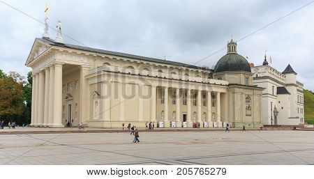 VilniusLITHUANIA-AUGUST 21 2017:Main Roman Catholic Cathedral of Lithuania situated in Vilnius Old Town just off of Cathedral Square, Vilnius, Lithuania, Europe
