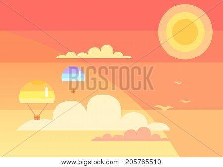 Parachutes with humanitarian aid flying in sky with bright shining sun. Vector illustration of chutes with packed gift boxes in the clouds