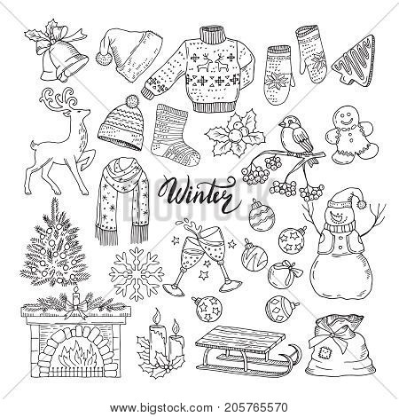 Set of different winters elements. Vector illustrations of holiday objects. Christmas and new year hand drawn object concept