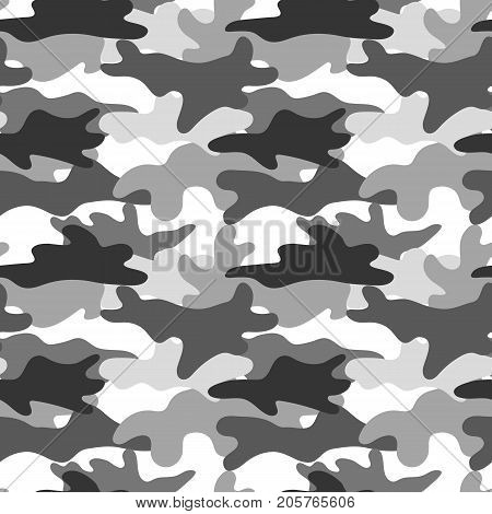 Black and white camouflage. Masking camo. Classic clothing print. Vector monochrome seamless pattern.