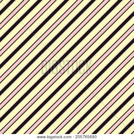 Colorful diagonal stripes background texture, slanted lines. Vector striped seamless pattern, cute pastel color combination, yellow, pink, black. Design pattern. Stripes pattern. Girls pattern. Textile pattern. Covers pattern. Lines pattern.