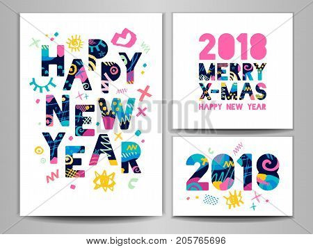Happy New Year, Merry X-mas Lettering. Greeting card. Hand drawn vector elements. White background. Colorful design.