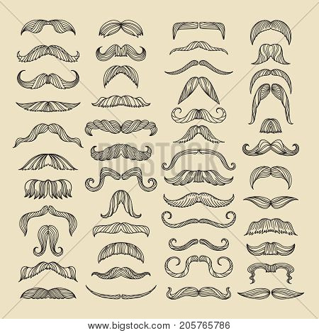Mustache of men. Hand drawn pictures with funny hairstyle. Set of mustache facial hair hipster. Vector illustration