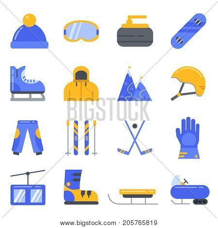 Extreme winter sport. Ski, snowboard and other equipment. Vector icon set in flat style. Curling and hockey, snowmobile and sledge, lift and snowboard illustration