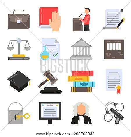 Symbols of legal regulations. Juridical icons set in flat style. Legal juridical, tribunal and judgment, law anb gavel, vector illustration