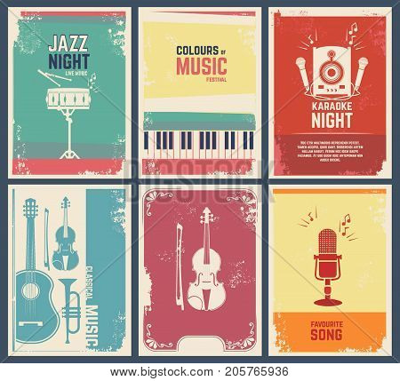 Design template of invitation cards with pictures of musical instruments. Vector music favourite song and party jazz festival banner illustration