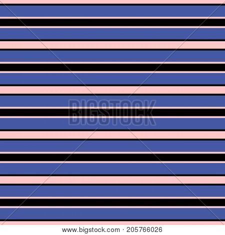 Horizontal stripes vector seamless pattern. Modern texture in trendy colors, rose, pink, electric blue and black. Abstract fashionable striped background with thin parallel lines. Stripes pattern. Design pattern. Lines pattern. Boys pattern.